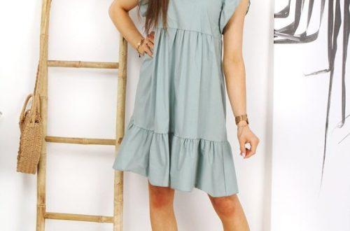 ładna sukienka miętowa AWALERONS