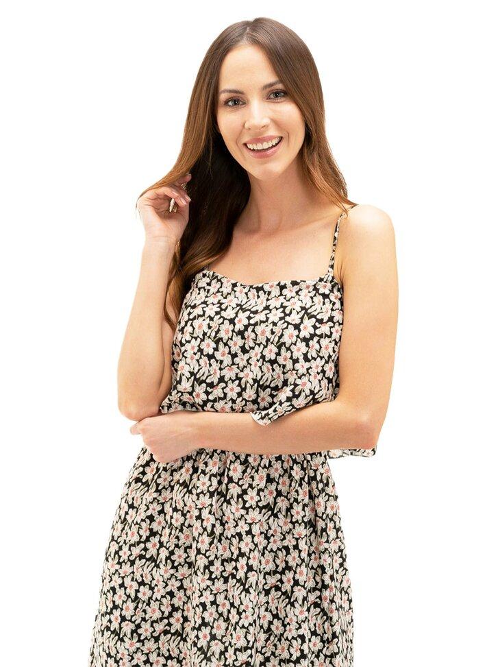 modna sukienka damska w kwiaty biało czarna